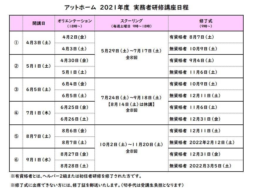 アットホーム実務者研修日程2021